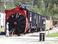 Rotary Snowplow No.1 has been restored and is on display by the Skagway Depot.