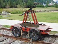 Original handcar beautifully restored by Engineer John Westfall and his colleagues in the WP&YR shops.