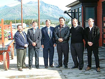 (left to right) Patrick Rouble, MLA - Southern Lakes Yukon Premier, Dennis Fentie Member of Parliament for Yukon, Larry Bagnell CTFN Chief Andy Carvill Gary C. Danielson, President for WP&YR Don Turple, CFO of Tri-White Corporation (WP&YR's parent company)