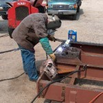Welding draw bar pocket.