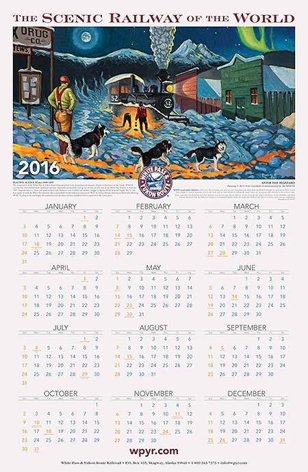 2016 White Pass Railway Alaska Wall Calendar