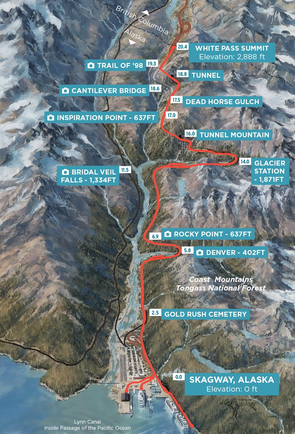 The route you will take on the Summit Excursion