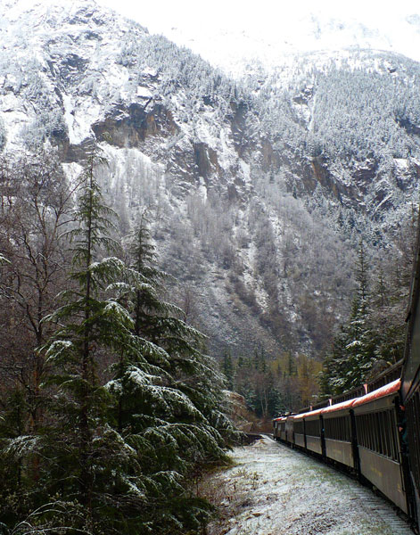Snowy trees and mountainside, from WP&YR train platform by Michael Weiland