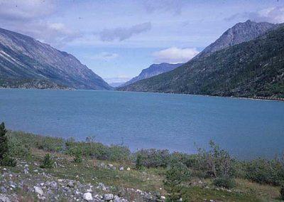 Aerial View to Lake Bennett. Location:Bennett. Milepost:. Date:1979-10-00
