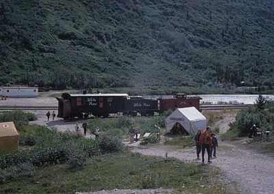 Rotary 1 and Caboose 909 on Display at Bennett. Location:Bennett. Milepost:. Date:1979-10-00