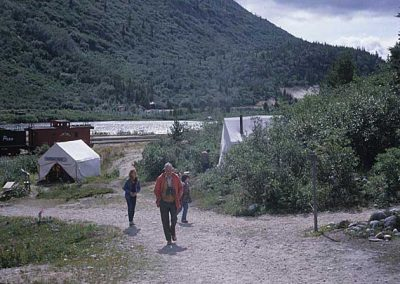 Peoples walk from display to old church. Location:Bennett. Milepost:. Date:1979-10-00