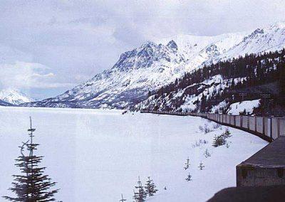Northbound train near MP 46-48. Location:MP46. Milepost:Mile 46. Date:1980-03-00