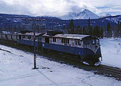 Northbound train near Carcross dessert, close view. Location:MP 68.2. Milepost:Mile 68.2. Date:1980-03-00