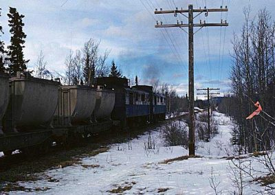 Northbound train near Carcross. Location:MP 68.2. Milepost:Mile 68.2. Date:1980-03-00