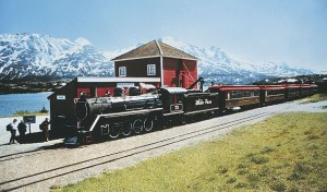 The steam locomotive was custom built for White Pass & Yukon Route Railroad.
