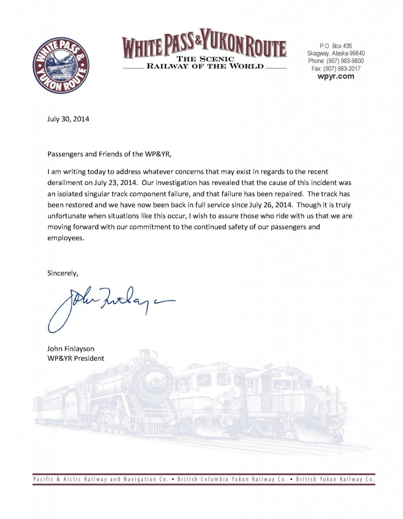 Letter from John Finlayson 7-30-14