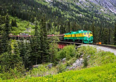 Train arriving at Glacier Stop