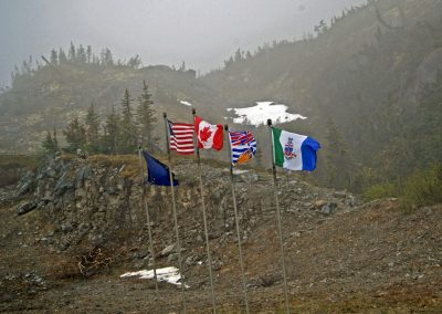Five flags flying over the Yukon Territory