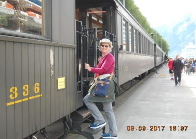 Getting on the train car#336 to the White Pass Summit