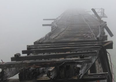 Old Steel Bridge End Coming Out of the Fog